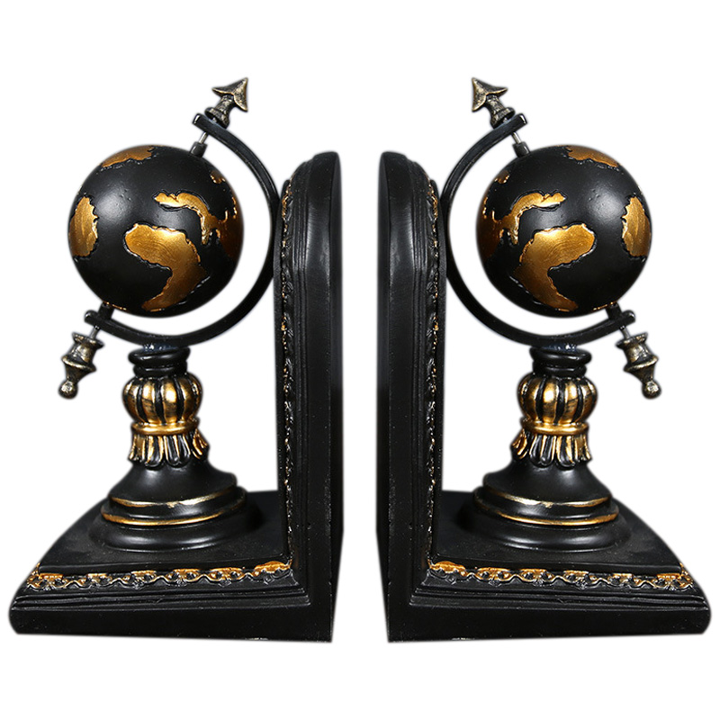 American Globe Bookend Resin Figurines Retro Globe Book Stand Model Miniature Ornaments Creative Handicrafts Household Decor