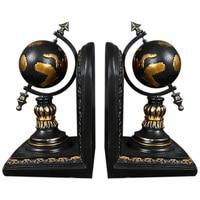 American Globe Bookend Resin Figurines Retro Globe Book Stand Model Miniature Ornaments Creative Handicrafts Household Decor
