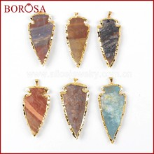 BOROSA Clearance Sale 10PCS Big Size Trendy Arrowhead Gold Color Natural Jaspers Gems Pendant Beads Jewelry for Necklace G0505-3(China)