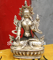 Classic Tuition Buddhist sutra 15cm Worship good luck Chinese Buddha silver Statues