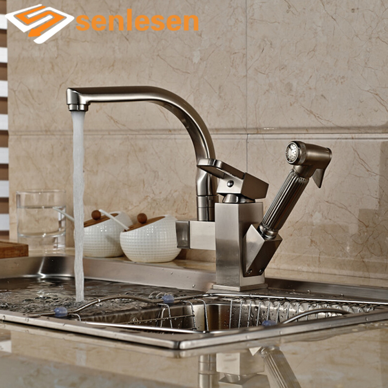 2017 New Arrival Pull Out Sprayer Gun Brushed Nickel Single Handle Kitchen Sink Mixer Faucet 2016 new arrival best quality single handle single hole brushed nickel water countertop faucet