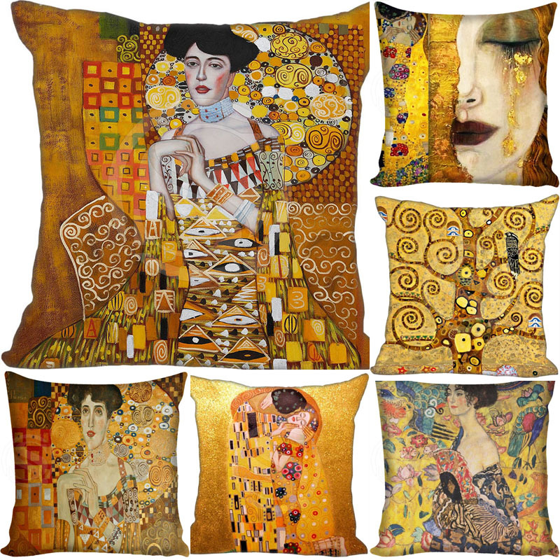 Gustav Klimt Painting Pillowcase Square Pillow Cover Cushion Cover Custom Gift 45x45cm