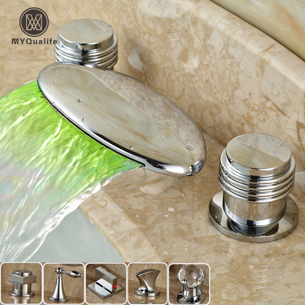 Classic LED Color Changing Waterfall Spout Bathroom Tub Sink Faucet Dual Handle Deck Mounted Basin Washing Taps