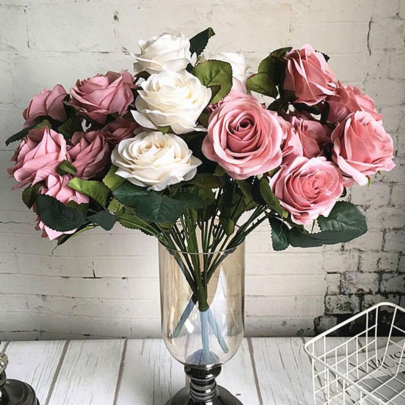 10 têtes grand artificiel rose fleur bouquet flores artificiales mariage maison automne décorations fausses fleurs fleur artificielle
