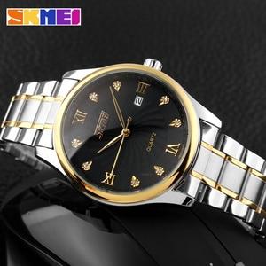 Image 4 - SKMEI Fashion Mens Watches Top Brand Luxury Business Watch Men Stainless Steel Strap Quartz Wristwatches Relogio Masculino 9101