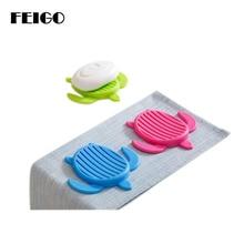 FEIGO 1Pc Cartoon Turtle Drain Soap Dish Plate Bathroom Set Stand Holder Simple Box Accessories F44