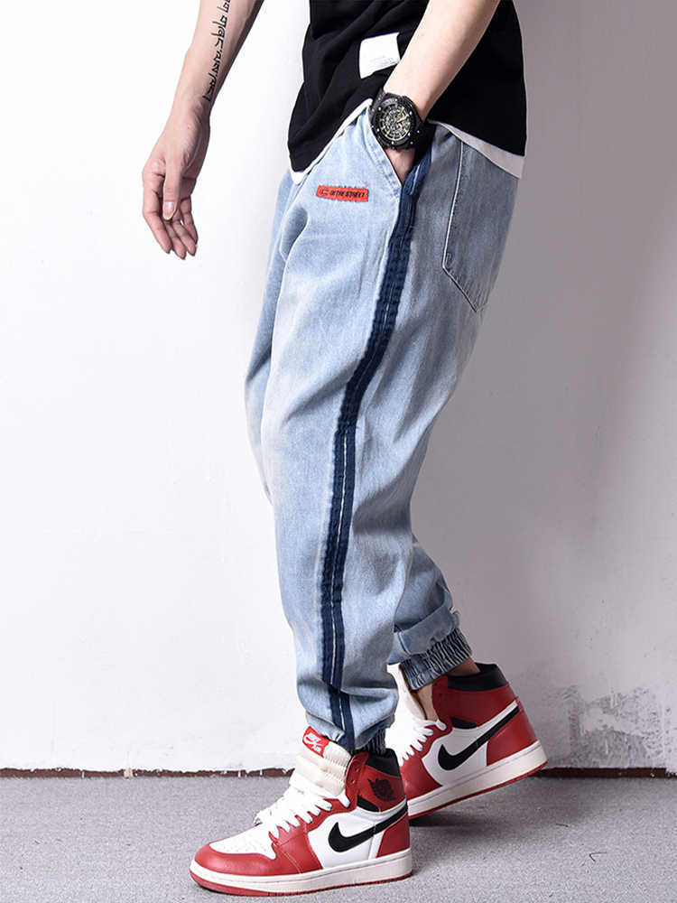 American Streetwear Fashion Men Jeans Blue Color Loose Fit Harem Cargo Pants hombre Stripe Spliced Hip Hop Joggers Jeans Men