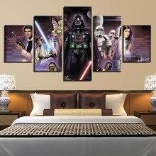 лучшая цена Home Decor HD Prints Painting 5 Panels Star Wars Movie Characters Poster Wall Art Canvas Modular Picture Living Room Framework