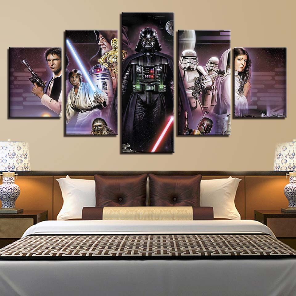 Home Decor HD Prints Painting 5 Panels Star Wars Movie Characters Poster Wall Art Canvas Modular Picture Living Room Framework image