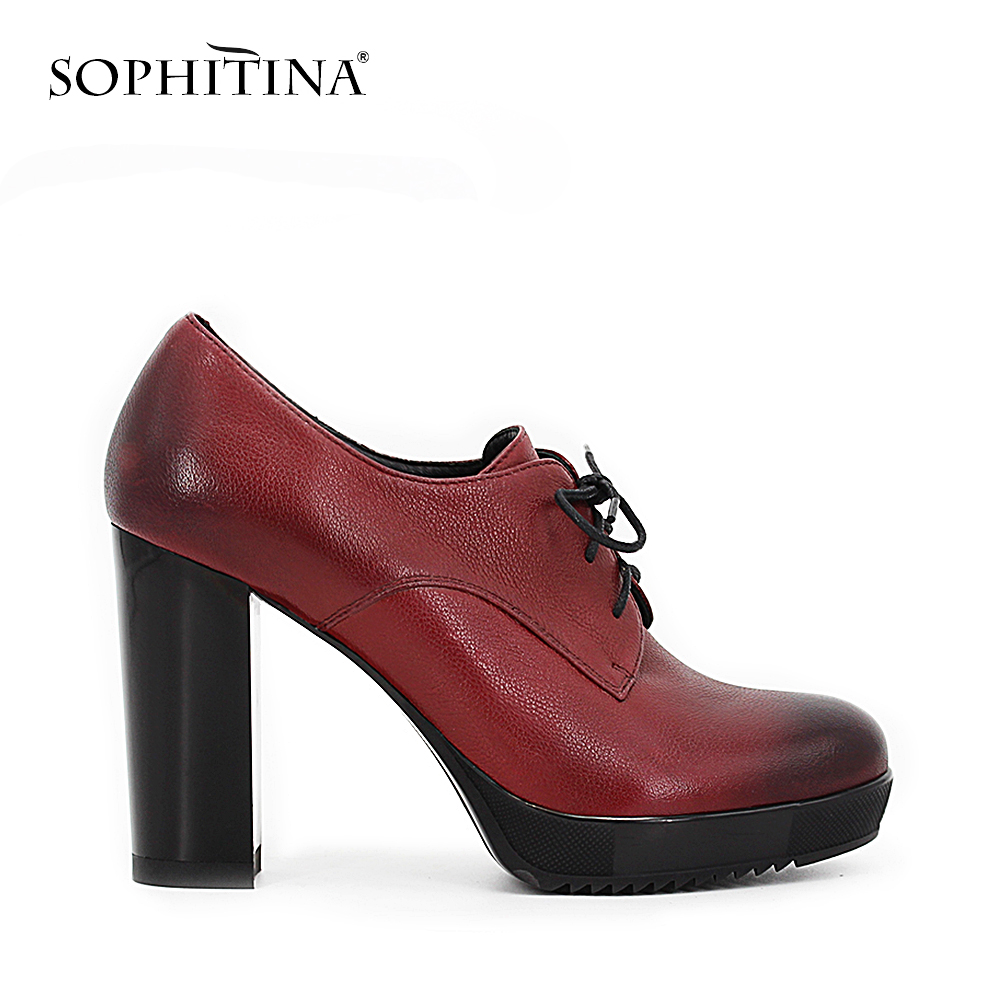 SOPHITINA Wine Red Dark <font><b>Blue</b></font> Cow Leather Pumps Lace-up <font><b>Working</b></font> Dress thick high heel Autumn Round Toe handmade <font><b>shoes</b></font> woman D048
