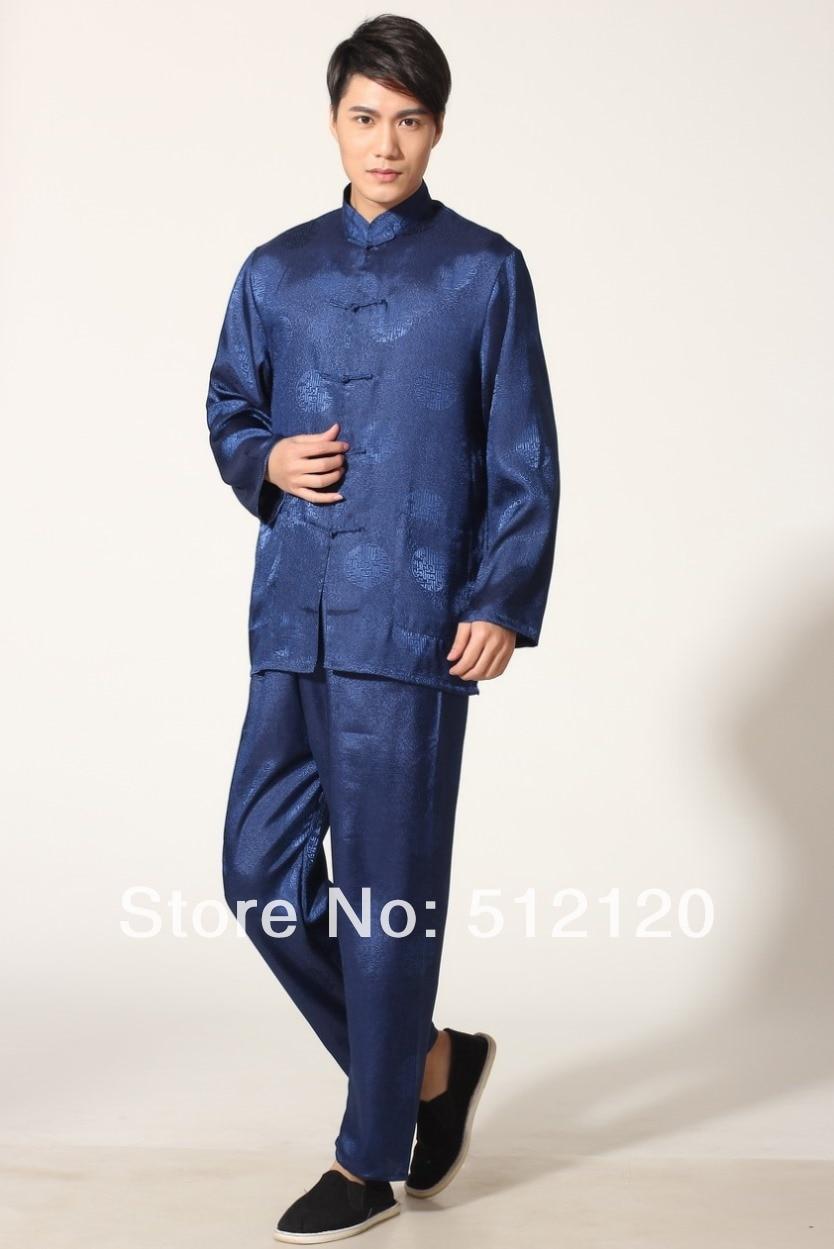 61c71ce81 شنغهاي قصة الربيع تاي تشي دعوى للرجال الكونغ فو التقاليد دعوى الكونغفو  العرفية الفن سترة السراويل مجموعة الملابس الزرقاء اللون