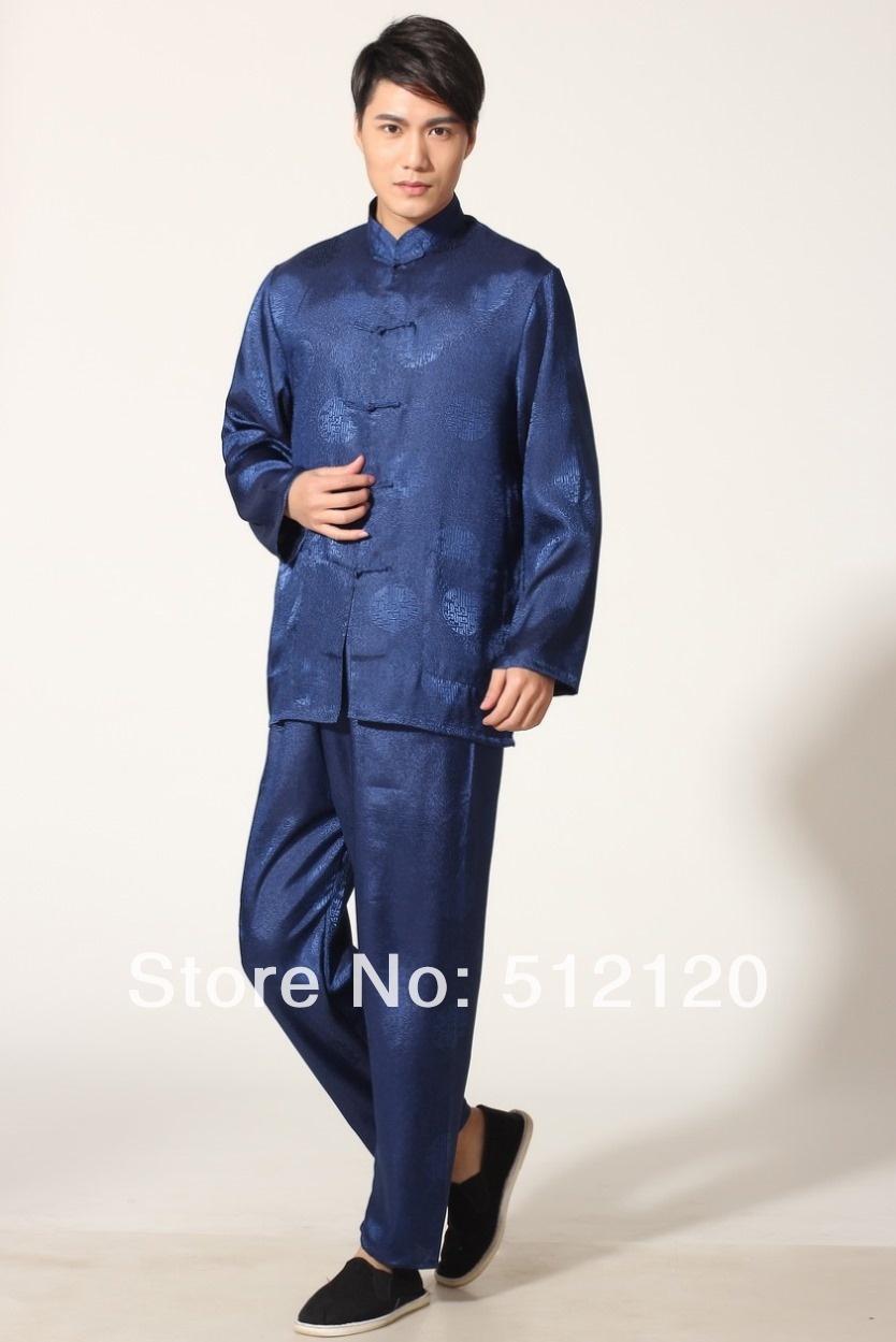 Shanghai Story Spring Tai Chi Suit For Men Kung Fu Suit Tradition Kungfu Clothing Martial Art Jacket Pants Set Blue Color