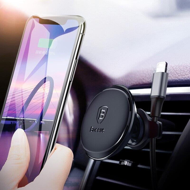 Baseus Magnetic Car soporte para teléfono móvil soporte del coche del montaje de la ventilación del aire del GPS teléfono titular para iPhone Samsung con clip de Cable