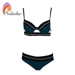 Image 5 - Andzhelika Bikini Nữ Đồ Bơi Gợi Cảm Thư Băng Miếng Dán Cường Lực Đầm Đẩy Lên Bikini Bộ Áo Tắm Đồ Bơi Monokini