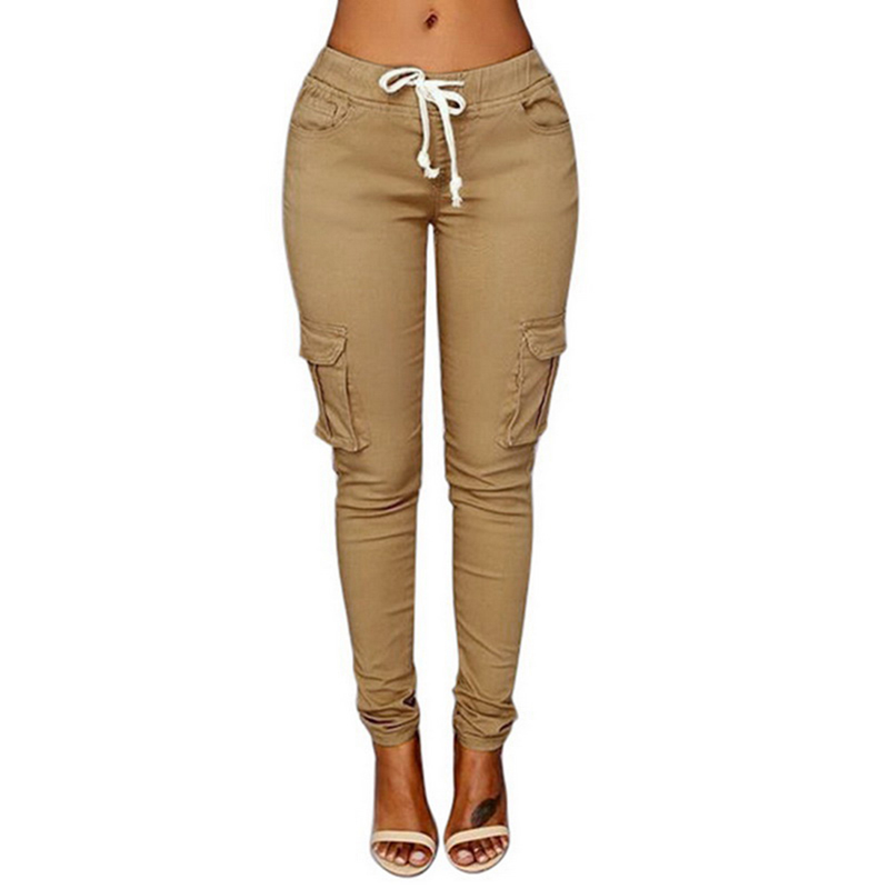 LASPERAL Women Pants Trousers Lace-Up Spring Slim-Fit Waist Multi-Pockets Straight Plus-Size