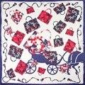 100% Bufanda de Seda Bufanda de Las Mujeres Bolsas on Carriage Bufanda Pañuelo Para El Cuello Bandana 2017 Foulard de seda Pequeña Bufanda de Seda Cuadrada Regalo para señora