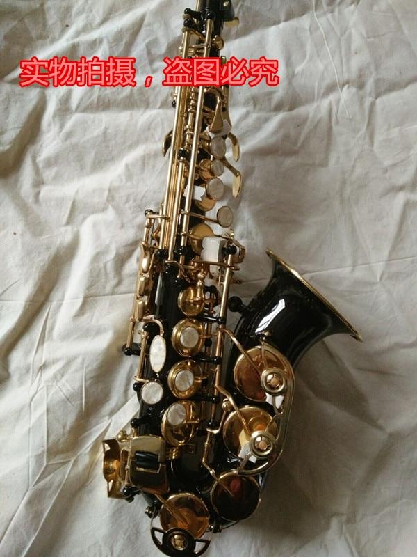 Nuevo Selmer  black alto tono Bb Soprano curva saxofon Curved campana B Flat Saxe instrumento Musical de los ninos Sax Saxofone soprano saxophone bb wind instrument sax western instruments black saxofone saxofon soprano musical instruments black saxofon