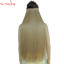 5piece/Lot X Synthetic Clip in Hair Extension 28inch Length Straight Hairpiece 5 Clips Matte Ash Blonde Color 16