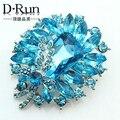 Brooch Hight Quality sea Blue Crystal Acrylic Rhinestone Brooches pins wedding jewelry badges with pin summer style bijuterias
