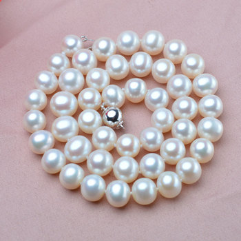 noble women gift Jewelry Silver Clasp Fine 9-10mm Natural Freshwater Pearl Necklace white Color Real Pearl Necklace 925