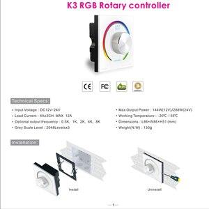 Image 5 - Новый CV RGB поворотный контроллер RGB панель контроллер RF настенное крепление беспроводной пульт дистанционного управления DC 12V 24V для 5050 3528 RGB светодиодная лента