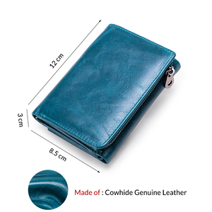 Image 4 - Contacts Women Wallets Clutch Coin Purse Woman Leather Genuine Leather Short Wallet Zipper Card Holder Money Bag For Girls
