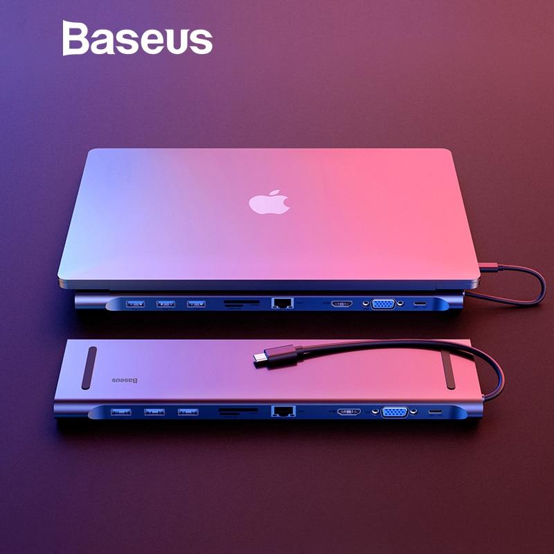 Baseus Multi 10 in 1 USB C HUB a HDMI VGA USB 3.0 RJ45 Audio da 3.5mm Adattatore per MacBook tipo C HUB per Samsung S8 Huawei Mate 10
