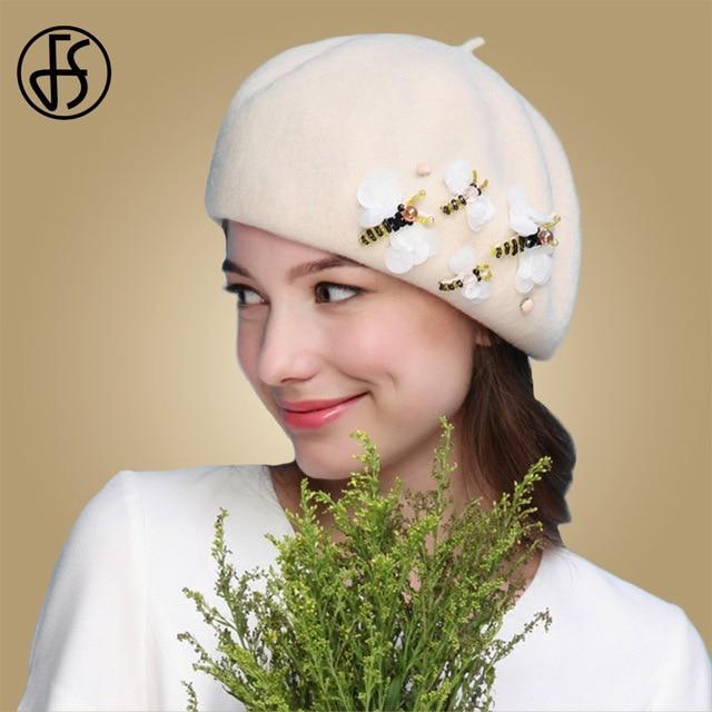 a78ed8541 FS artista francés blanco negro sombrero de la Boina de lana de las mujeres  de invierno