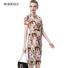 3cc13264594 BURDULLY New 2018 Print Dress Woman Sexy Summer Vintage Dresses Large Sizes  Elegant Ladies Dresses Business Casual Short Sleeve