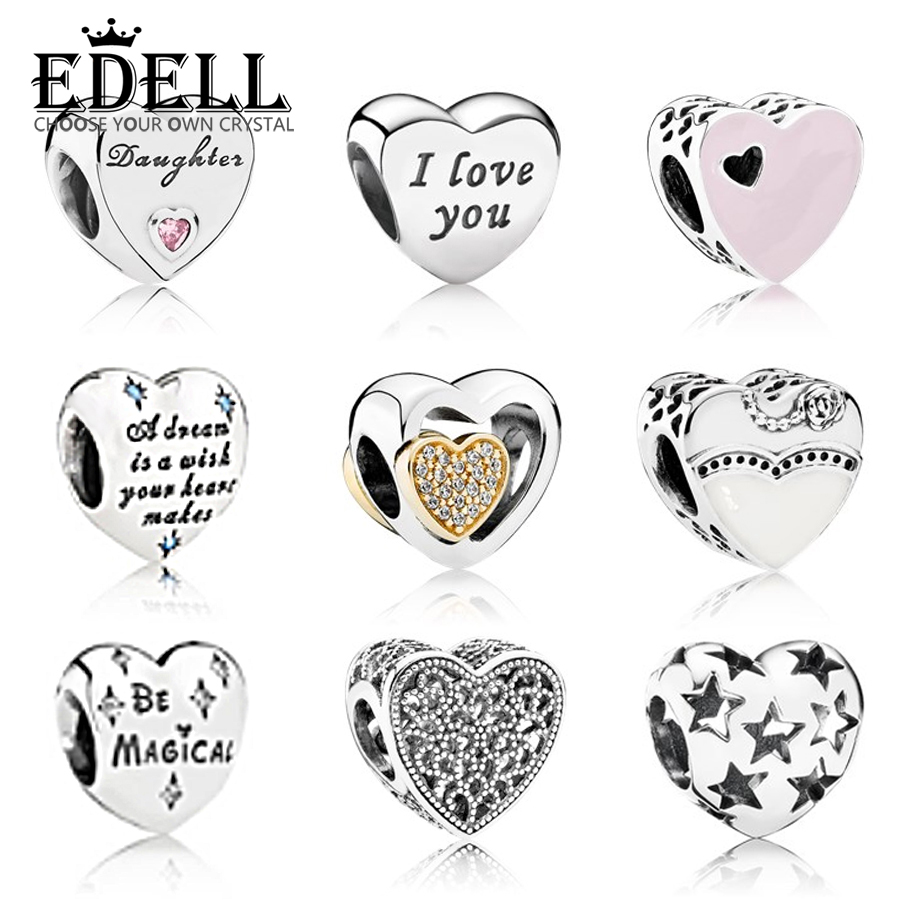 EDELL Authentic 100% 925 Sterling Silver Love Heart Shape Charm Beads Fit DIY Charm Bracelet Original Silver Jewelry Bangle Gift