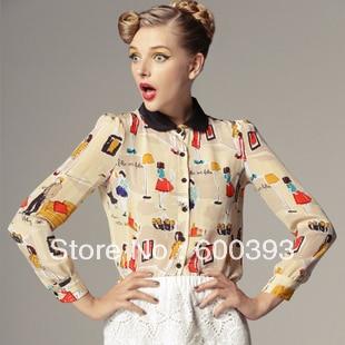2013 free shipping fashion spring print pattern peter pan for Peter pan shirt pattern