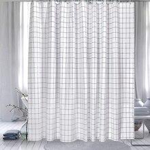 Белая клетчатая занавеска для душа 180 см Водонепроницаемая занавеска для ванной комнаты белая полиэфирная влагостойкая занавеска для душа D50