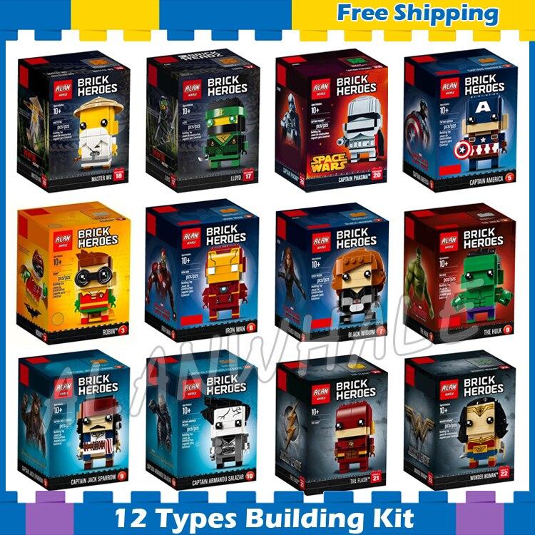 12 Soorten Brickheadz Super Heroes Figuren Captain America Iron Man Hulk Phasma Lloyd Robin Wonder Vrouw Model Bouwstenen Speelgoed