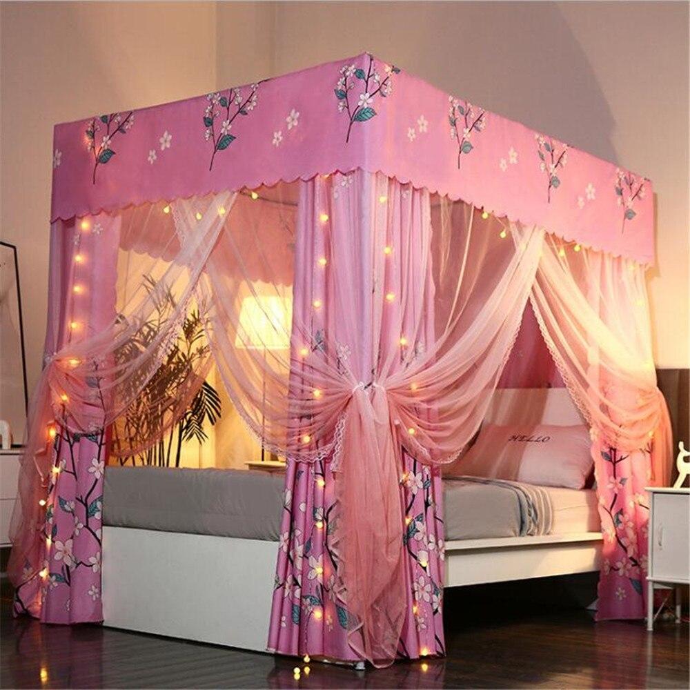 WINLIFE lit coloré Curtian Set rideaux de lit en microfibre pour les filles