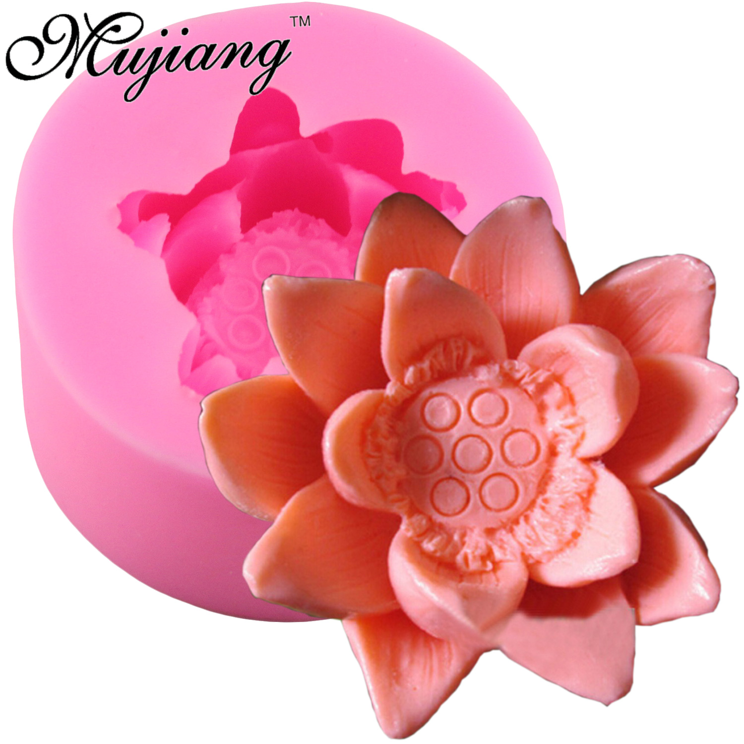 Clay lotus flower promotion shop for promotional clay lotus flower mujiang lotus flower silicone soap molds resin clay candle mold fondant cake decorating tools candy chocolate gumpaste moulds dhlflorist Gallery