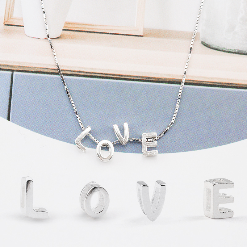 925 sterling silver letter Beads silver Charms A Z diy loose beads alphabe Beads for women Necklace Bracelet jewelry making in Beads from Jewelry Accessories