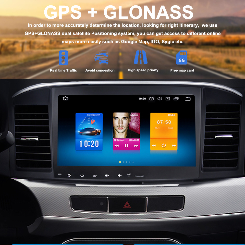 1 din Android 8.0 Car GPS Navigation for Mitsubishi Lancer 10 Head Unit 2007  2008 2009