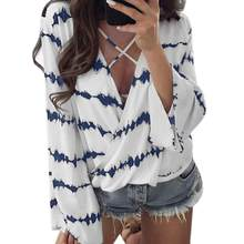 2018 Hot Sale Women's Tops And Blouses Long Sleeve Shirt Stripe Tops Overlapping Chiffon Blouse blusa Feminina l0806(China)