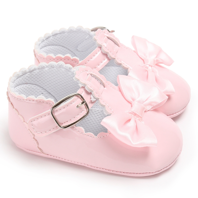 Baby Bow Tie Shoes Sweet Casual Princess Girls Baby Kids Pu Leather Solid Crib Babies Infant Toddler Cute First Walker Shoes