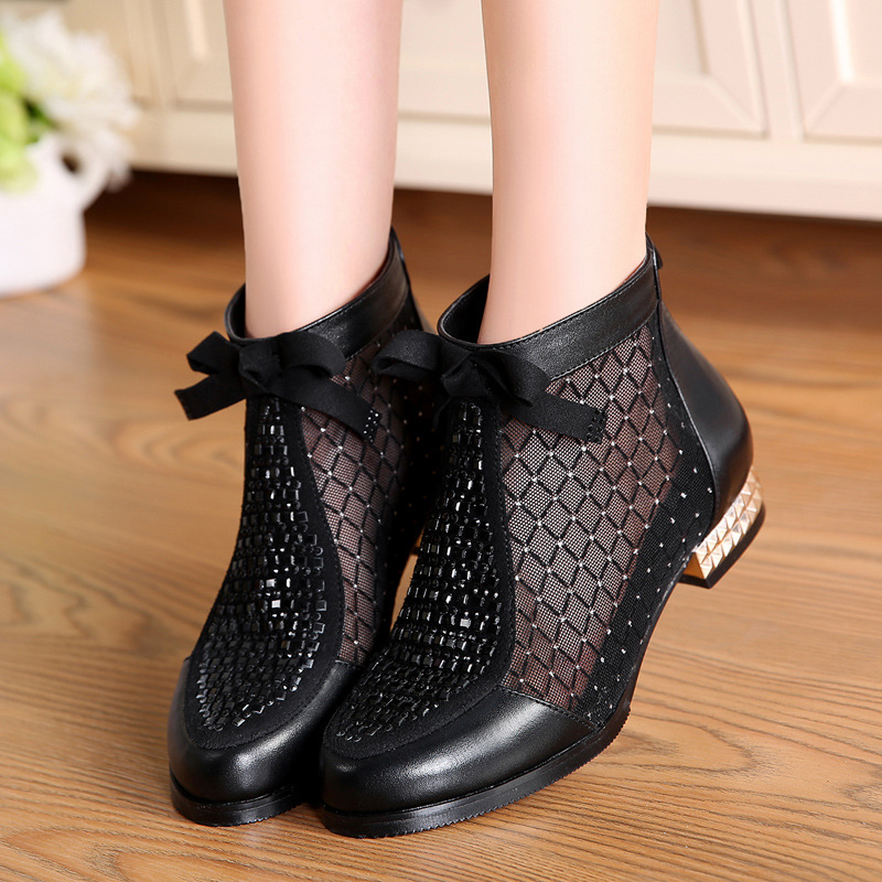Summer Heel Low Zip Boots Fashion Rhinestone Butterfly Mesh Ankle Boots for Women Genuine Leather Casual Shoes Fish Boot FemaleSummer Heel Low Zip Boots Fashion Rhinestone Butterfly Mesh Ankle Boots for Women Genuine Leather Casual Shoes Fish Boot Female