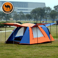 2015 new style high quality double layer waterproof 3 4 person camping beach tourist gazebo tent