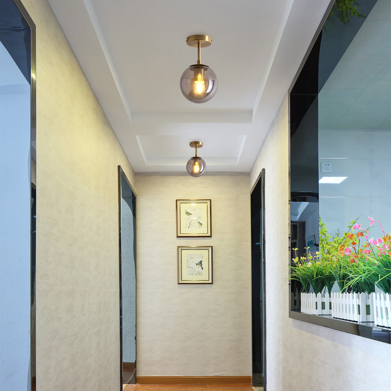 IWHD скандинавский стеклянный шар светодиодный потолочный светильник для балкона крыльца прохода спальни медные Ретро Винтажные потолочные лампы Plafonnier освещение