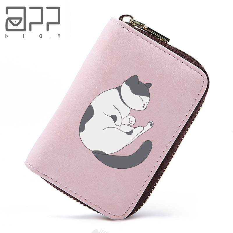 APP BLOG Cute Sleep Cat 11 Slots Women Credit Business Bank Cards Holder Passport Cover Card Bag Case Femme Carteira Mujer 2018 app blog women men credit id card holder case extendable business bank cards bag small wallet coin purse carteira mujer male
