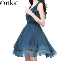 Artka Women S Summer Slim Elegant Hand Knitted Cinched Waist Luxurious Swing Hem Solid Color Sleeveless