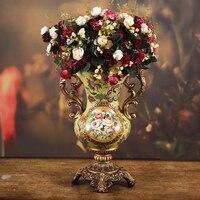 Роскошная гостиная украшения входные Ретро ваза ремесла украшение ваза цветочный стиль ТВ кабинета