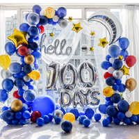 Blue Boy Sky Space Star Theme hello 100 days Baby Shower 100th day 30 60 Year Birthday Party Celebration Balloon Garland Decor