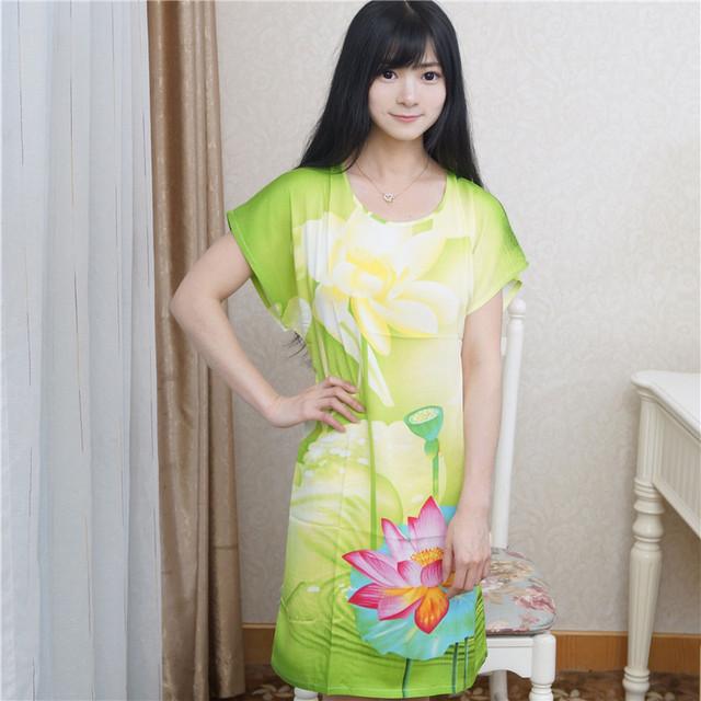 Alta moda para mujer verdes algodón albornoz camisón salón de verano vestido corto manga de la ropa un tamaño Floral NR197