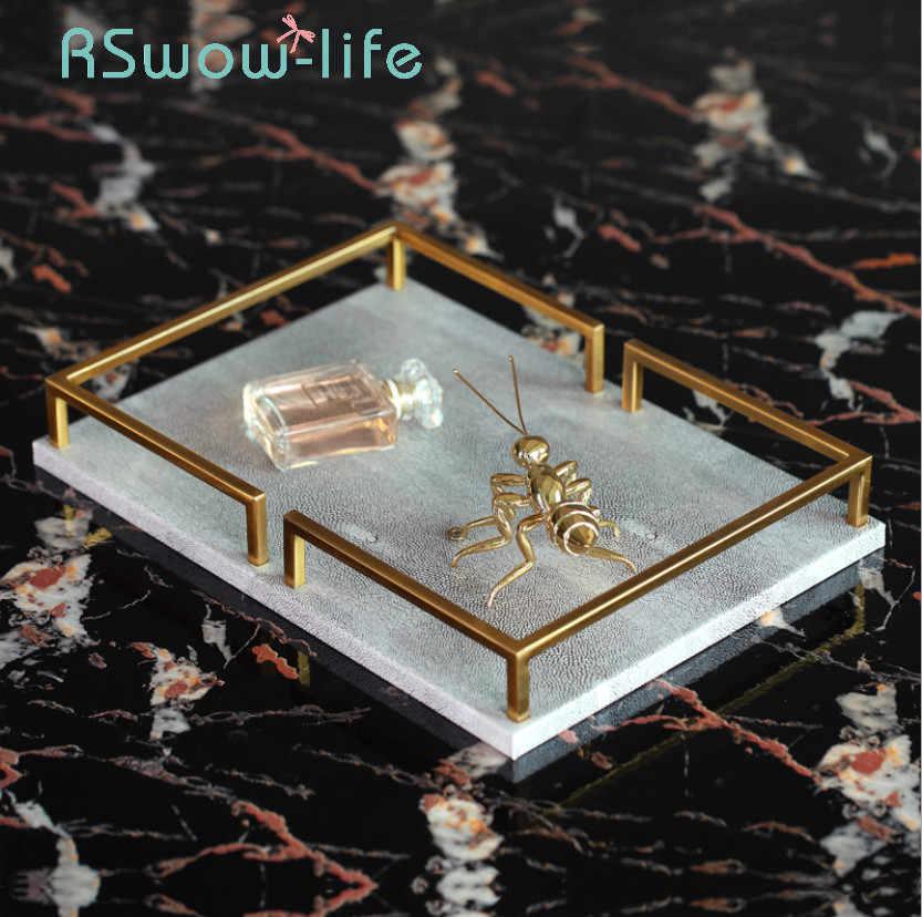 Cahaya Mewah Setan Kulit Ikan Rectangular Desktop Nampan Abu-abu Kulit Perhiasan Dekorasi Perhiasan Penyimpanan Tray Nampan Makanan