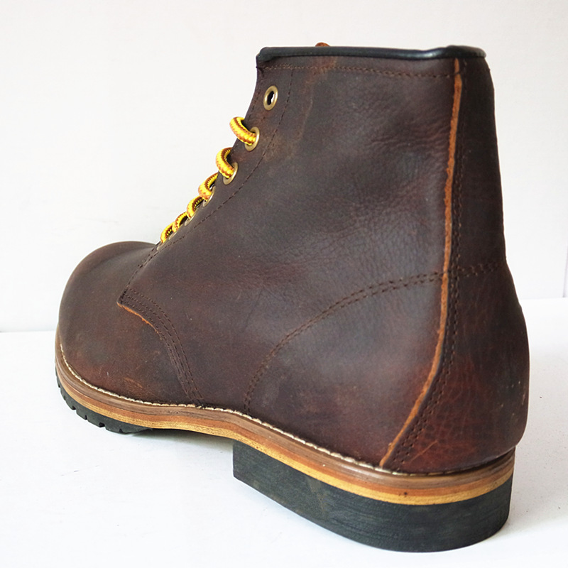 US5-11 Genuine Leather Lace Up Round Toe Work Safety Ankle Boots Mens Winter Snow Riding Boots