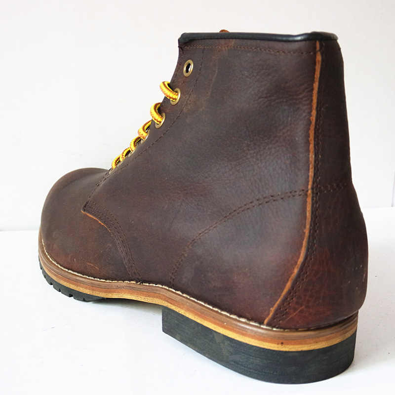 US5-11 hakiki deri Lace Up yuvarlak ayak iş güvenliği yarım çizmeler erkek kış kar binici çizmeleri